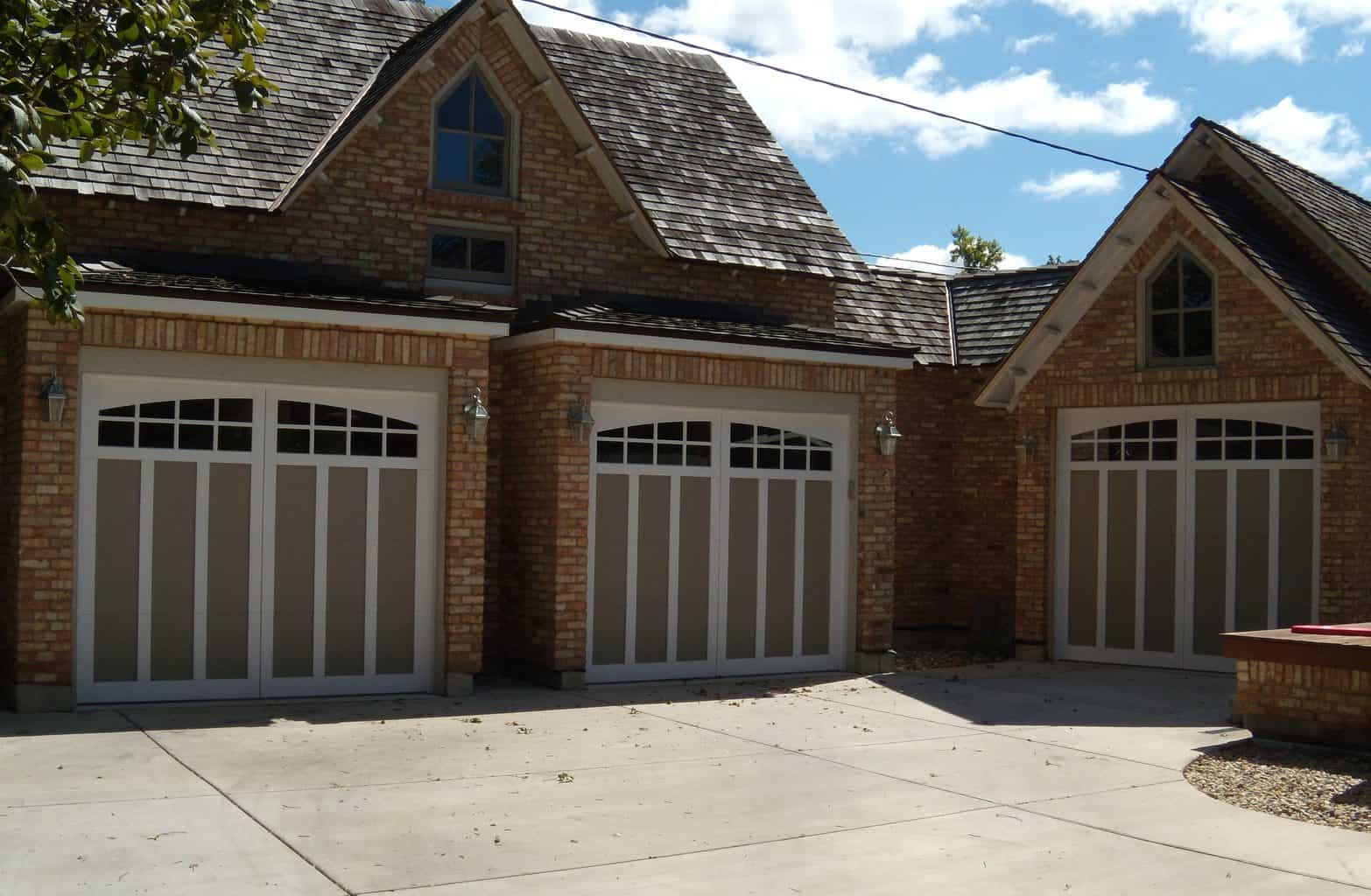 Carriage doors with recessed panel