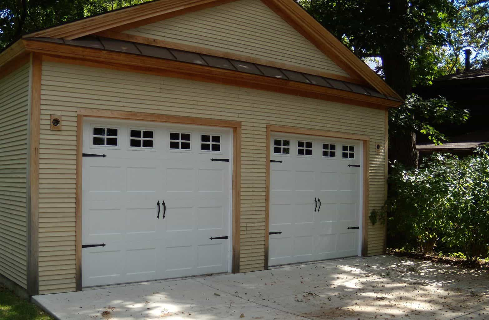 recessed panel carriage style garage door