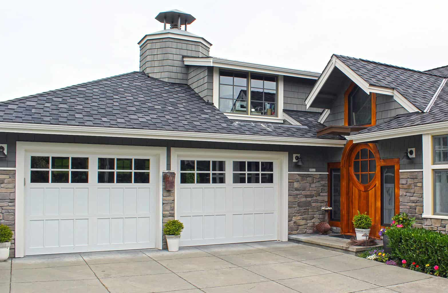 white recessed panel garage door